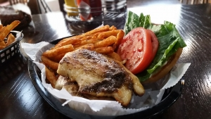 Jerk chicken sandwich at Uniontown Bar and Grill