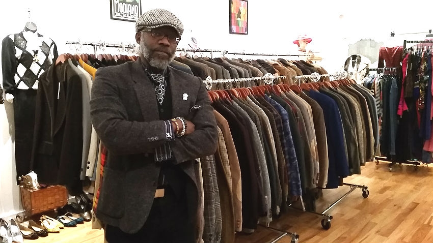 James Hackley, Chief Style Officer, and the collection of Bespoke Not Broke in the space shared with Vintage & Charmed